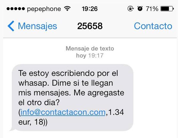 25658: Estafas por SMS haciéndose pasar por contactos de WhatsApp y Facebook