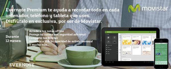 Movistar regala 12 meses de Evernote Premium a sus clientes