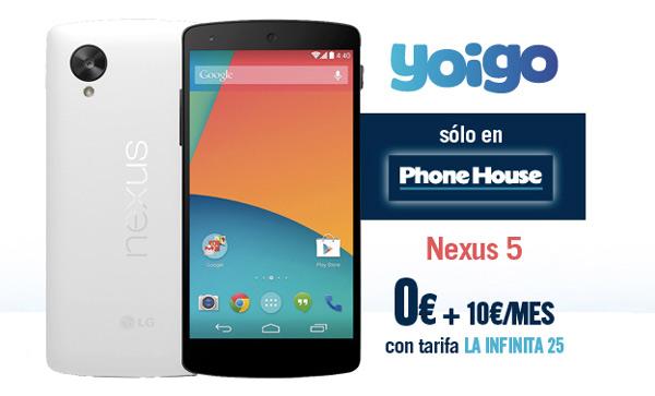 Precios del Nexus 5 con la Tarifa Infinita 25 de Yoigo en The Phone House