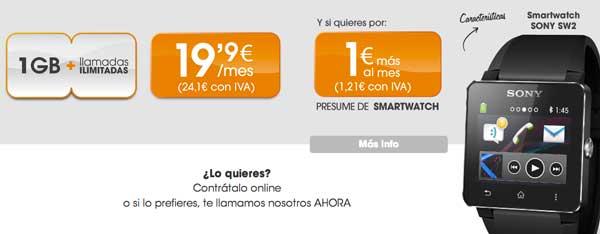 Llévate un Sony SmartWatch 2 con Euskaltel por 1 euro más al mes